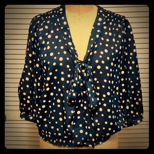 Francesca's Collections teal polka dots 👚 S